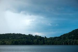 Lake landscape at dusk free stock photo