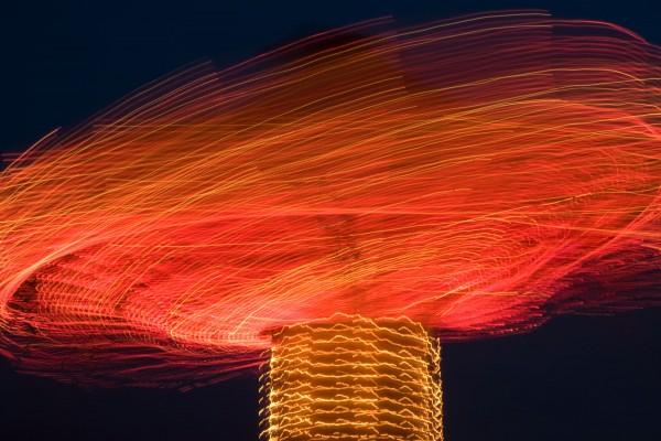 Long exposure of carousel in motion at local fair