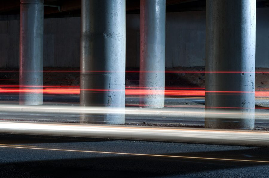 Light trails and pillars under the New York State Thruway in Nyack, New York