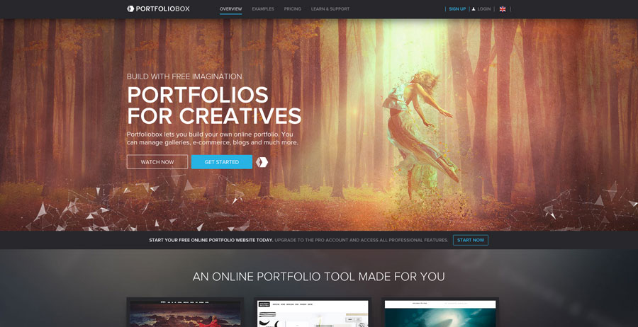 portfoliobox.net homepage screenshot