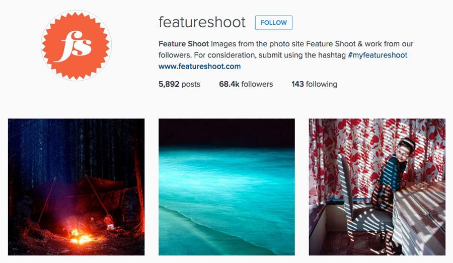 Featureshoot instagram screenshot