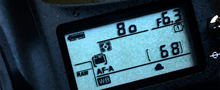 Shutter speed displayed on top LCD of a Nikon D610 DSLR