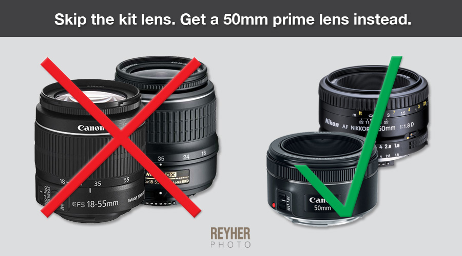 Buy a 50mm prime lens, not a kit lens