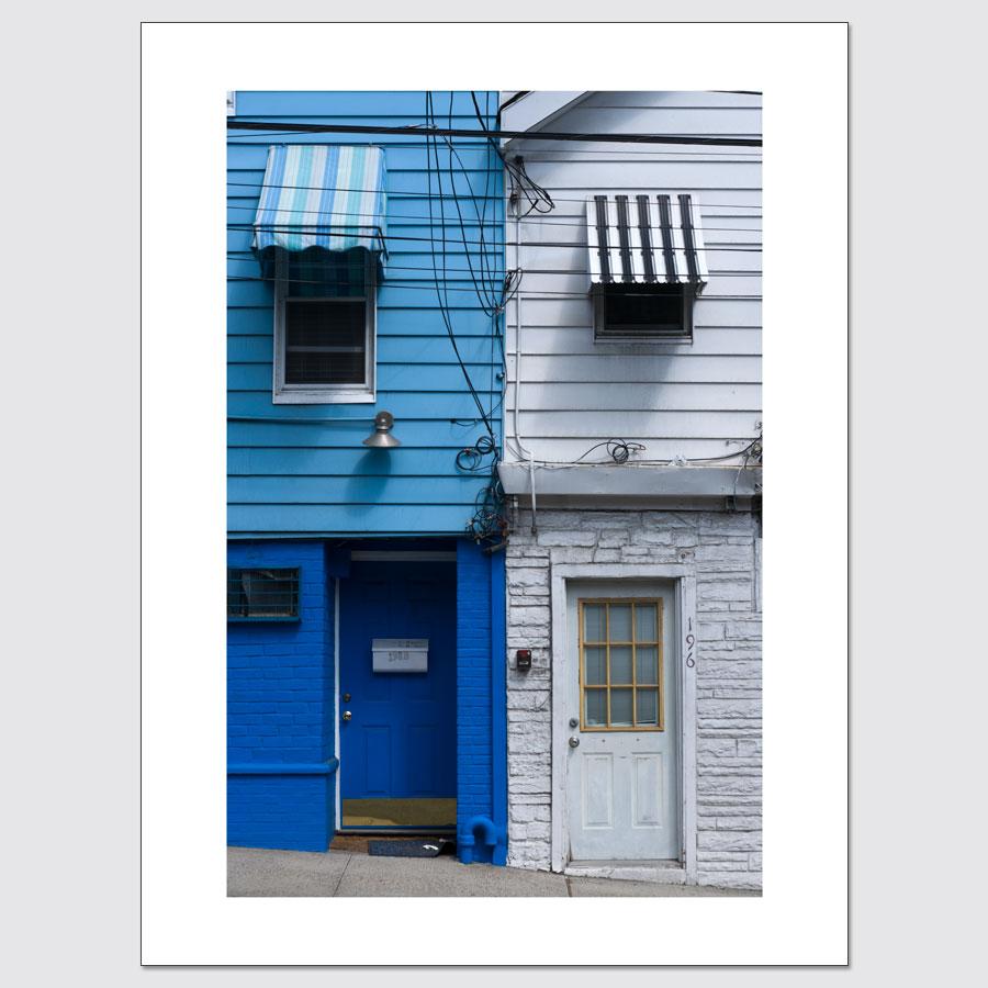 Blue and white apartments fine art photo print