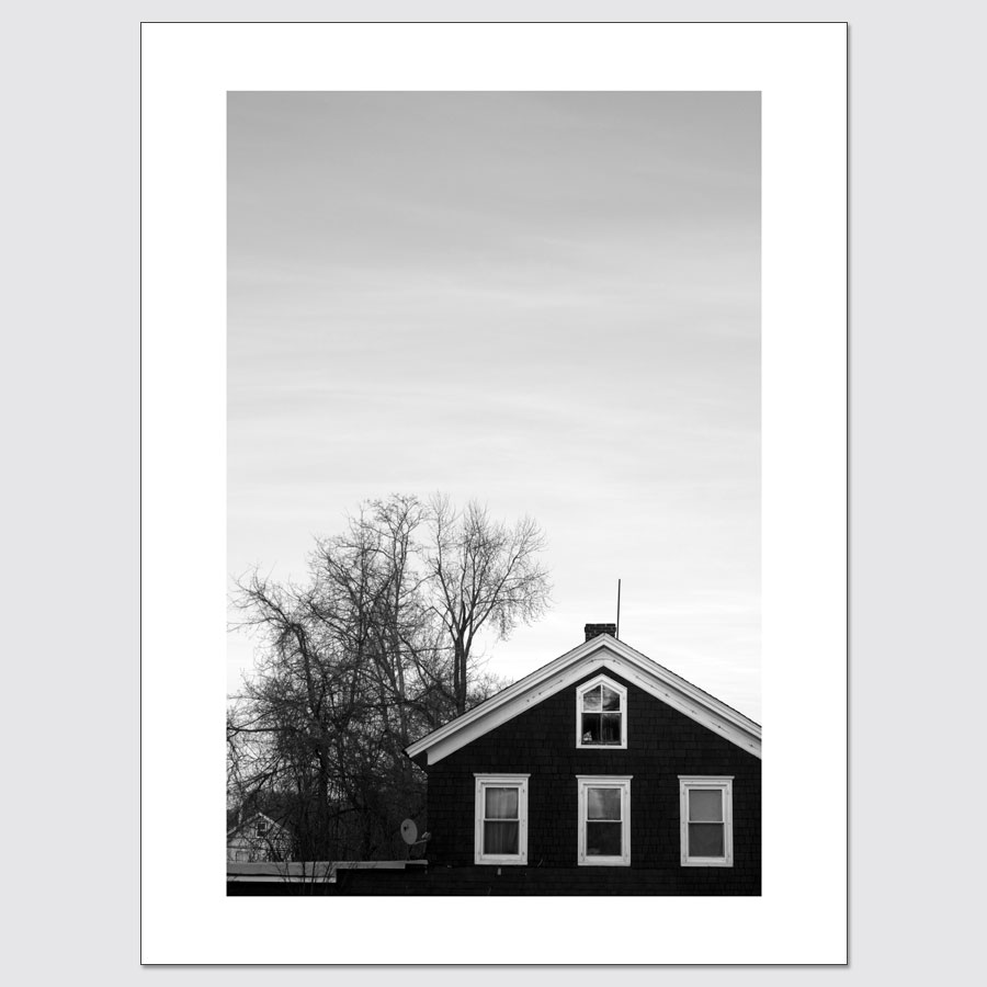 Limited edition wall art of house at dusk in New City, New York.