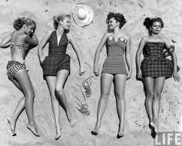 Sunbathing models by Nina Leen.