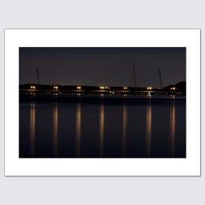 Streetlights and cranes near the Tappan Zee Bridge high-end wall art, ready to hang
