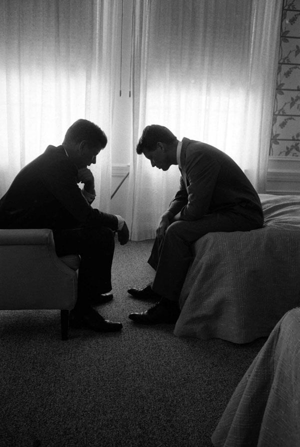 JFK and Bobby in a Los Angeles hotel suite by Hank Walker.